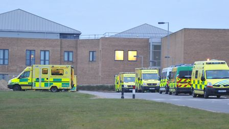 Ambulances at the Norfolk and Norwich University Hospital on a busy evening in 2013.PHOTO BY SIMON F