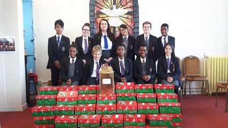 All Saints pupils with the shoe boxes Picture: Catherine Doyle