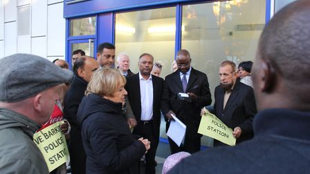 Margaret Hodge speaks to campaigners at Friday's protest against the counter closure. Picture: Tom Horton