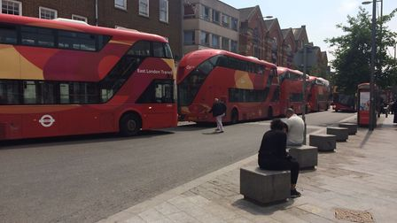 Buses are queued up in Barking centre as a result of the traffic disruptions. Picture: Sophie Morton