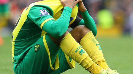 Norwich City's Nathan Redmond shows the strain of Premier League defeat at Fulham. Picture by Paul C