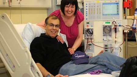Kidney dialysis patient Paul Welsh pictured with his wife Mandy in Cromer Hospital renal dialysis un