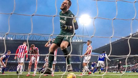 Anguish on the face of Stoke City keeper Jack Butland, after conceding a late goal to Will Keane. Picture: STEVE WALLER...