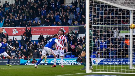 Will Keane wheels away after scoring a late equaliser for Ipswich Town in the 1-1 draw against Stoke City. Picture...