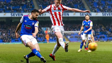 Gwion Edwards crosses late in the Ipswich Town v Stoke City match. Picture: STEVE WALLER WWW.STEPHENWALLER.COM