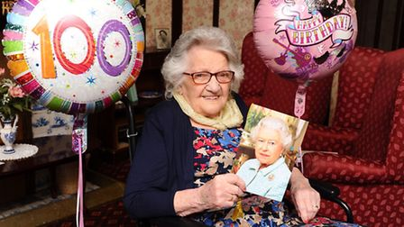 Myra Martin who is celebrating her 100th birthday at Marine Court residential home in Great Yarmouth
