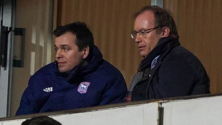 Ipswich Town owner Marcus Evans (right) and general manager of football operations Lee O'Neill watch the 1-0 home loss to...