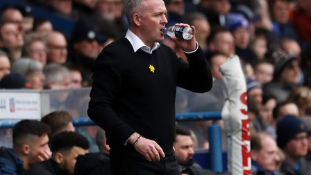 Paul Lambert takes a sip of water during Town's 1-0 defeat against Coventry City at Portman Road Photo: ROSS HALLS