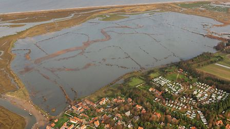 Aerial view of the aftermath of the December 2013 floods. Pictured: Blakeney Marsh. Photo: Mike Page