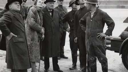 Prime Minister Winston Churchill tours London Docks in September 1940, with auxiliary firemen. Picture: John Avery/PLA