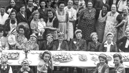 It's all over... VE Day street party, one of many in East End neighbourhoods in May 1945. Picture: ELA