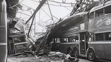 West Ham trolleybus depot the night after a German air-raid... the years of bombing now at at end. Picture: Tower Hamlets...