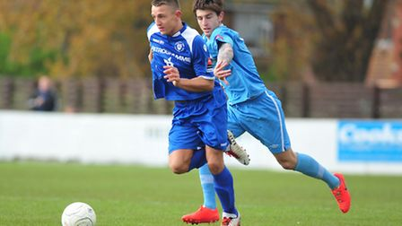 Lowestoft Town FC v Billericay, Jake Reed in action.