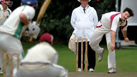 Jonathan Sole bowling for Swardeston at Great Witchingham on Saturday. Photo: Bill Smith