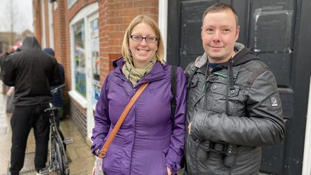 Paul and Lynsey Syme outside Thetford post office.