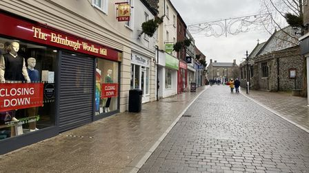 Thetford town centre days before the second national lockdown lifts.