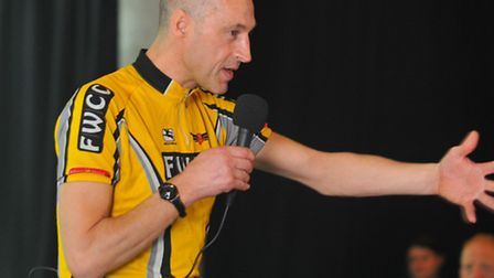 Getting in the saddle at the Norfolk Cycle Show at the Forum. Graeme Obree giving a talk about his c