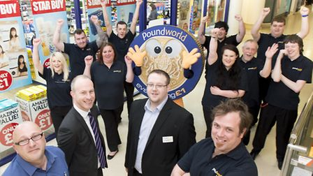 Ingeus recruit staff for new Poundworld store in Norwich.Pictured front are Toby Doddridge, right, a