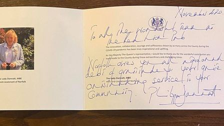A card sent to the Red Lion Pub from Lord Lieutenant Lady Dannatt