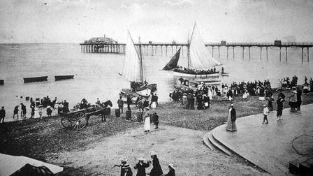 Old photo of boats off Hunstanton beach