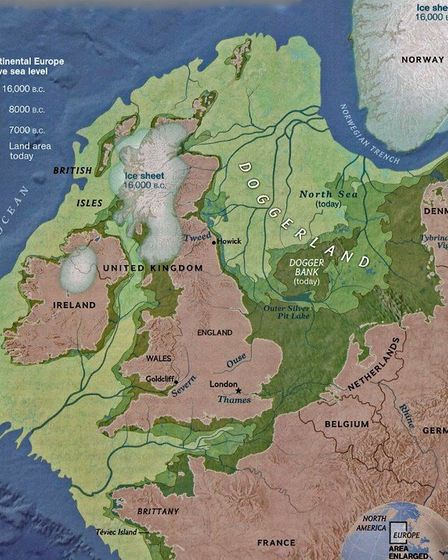 A map illustrating the contraction of Doggerland over the millienia. Picture: UNIVERSITY OF BRADFORD