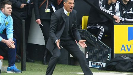 Norwich Manager Chris Hughton gets animated during the Barclays Premier League match at Carrow Road,