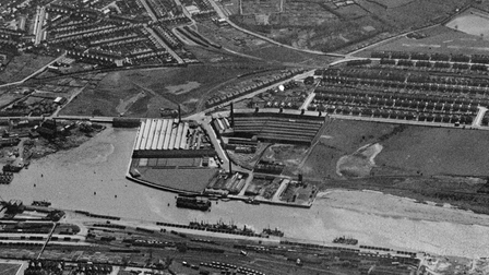 A pre-war aerial view of the Lowestoft CWS factories and area.