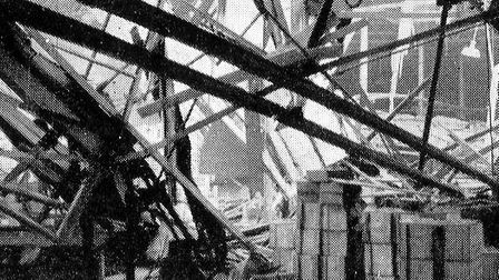 Damage inside the retort department caused by bombs onNovember 29 1940.