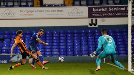 James Norwood with a second half effort saved by Hull keeper Matt Ingram.Picture: Steve Waller...