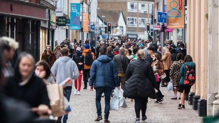 Christmas shoppers in Ipswich during lockdown - the county is hoping it will be in tier one next week Picture: SARAH LUCY...