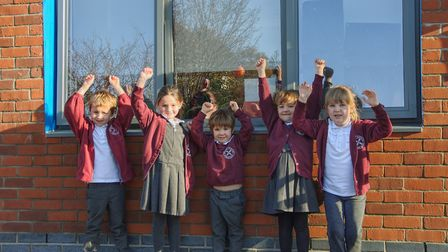 Year 1 children at Bramford CEVC Primary School standing outside their new classroom. Picture: BRAMFORD CEVC PRIMARY SCHOOL