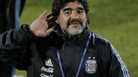 Diego Maradona, who has died at the age of 60. He was the best player George Burley ever faced. Picture: AP
