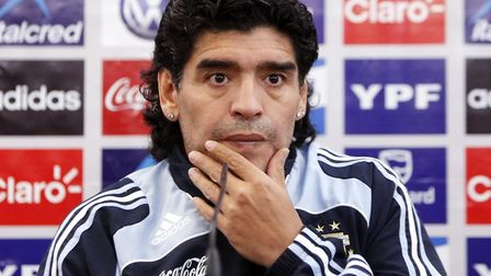 Diego Maradona speaking at a press conference in Glasgow before his first match as Argentina's new head coach, against...