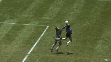The famous 'Hand of God' goal scored by Diego Maradona against England at the 1986 World Cup