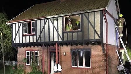 Fire crews have battled a kitchen blaze that spread throughout a house in Cavenham Picture: SUFFOLK FIRE AND RESCUE SERVICE