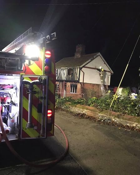 Six fire crews battled the blaze in The Street, Cavenham Picture: SUFFOLK FIRE AND RESCUE SERVICE