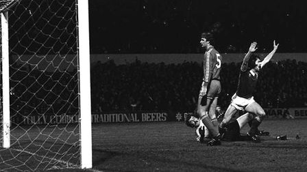 John Wark celebrates scoring one of his three goals during Town's 5-0 win over Polish side Widzew Lodz in the UEFA Cup...