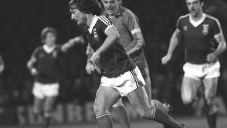 Eric Gates on the ball during Town's 5-0 home win over Widzew Lodz, in the third round of the UEFA Cup from 40 years ago.