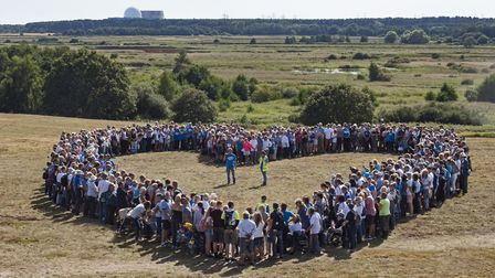Heart on Whin Hill with Sizewell power station in the background, formed by 1000 supporters at the RSPB Love Minsmere...
