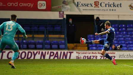 James Norwood just fails to make contact with a crossed ball after a good run late in the first half. Picture: Steve...