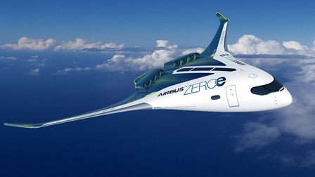 ZEROe, an Airbus concept aircraft with two hybrid hygdrogen turbofan engines to provide thrust Picture: AIRBUS