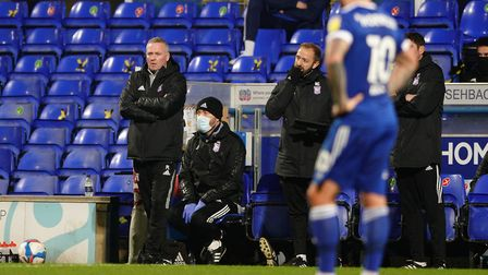 Town manager Paul Lambert looks on as Town slip to defeat last night to Hull. Picture: Steve Waller...