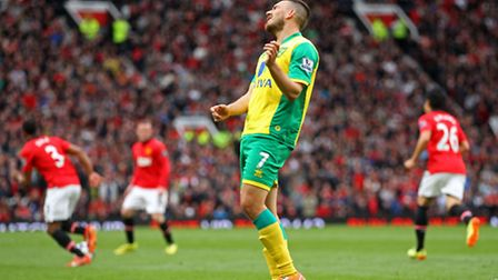 Norwich City's Robert Snodgrass reacts to a Manchester United goal. Picture: Paul Chesterton / Focus