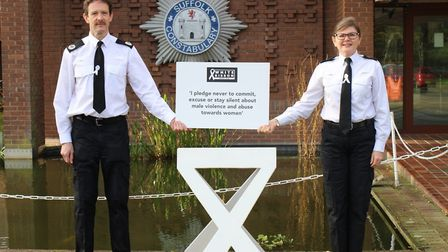 Assistant Chief Constable Rob Jones and Temporary Chief Superintendent Marina Ericson supporting the White Ribbon campaign...