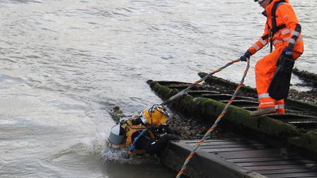 A dive team inspects the condition of Clacton Pier's underwater structures. Picture: CLACTON PIER