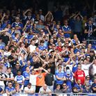 Town fans celebrating at Portman Road. Packed scenes like this won't be seen for some time yet, but up to 4,000 spectators co...