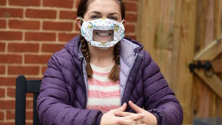 Deaf awareness advocate Louise Goldsmith has been wearing a mask with a clear plastic panel in it - and encourages others...