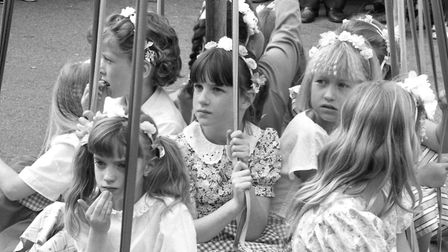 Taking a rest from dancing at Mendlesham Street Fair in 1990 Picture: ARCHANT