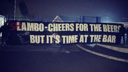 The Blue Action supporters group hung this banner at Playford Road on Wednesday evening. Picture: BLUE ACTION/TWITTER