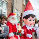 L-R: Hunter, Joel, Santa Claus, the elf and Stacie who thanked the community for a 'perfect' day. Picture: Deborah Prescott